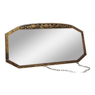 1930s Distressed Glass Bronze Mirror
