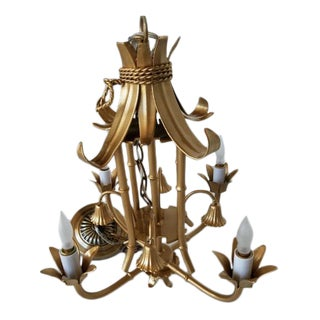 Vintage 4-Arm Faux Bamboo Pagoda Chandelier