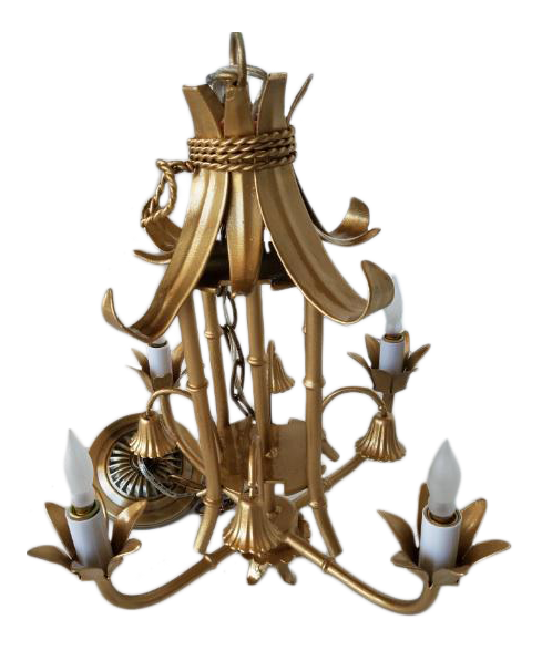 vintage 4arm faux bamboo pagoda chandelier