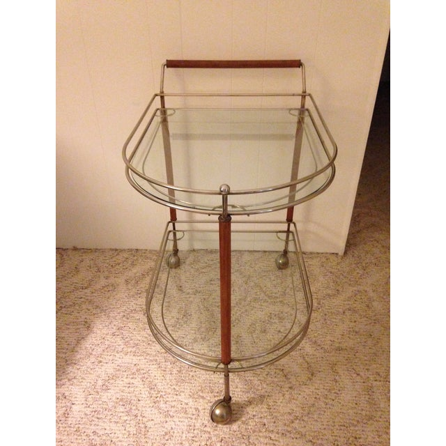 Image of Mid-Century Rolling Glass Top Bar Cart