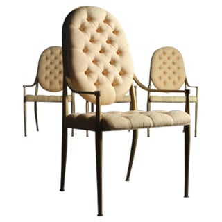 1960's Bernhard Rohne Brass Dining Chairs - S/4