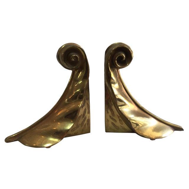 1960's Modern Ben Siebel Style Brass Leaf Bookends - Image 1 of 8