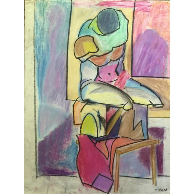 Henry Woon 1950s Pastel Male Figurative Drawing - Image 1 of 7