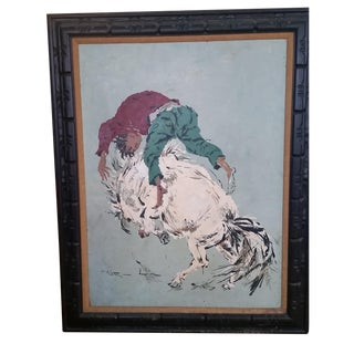 "Large Oil Painting, ""Wild Horse Ride"" by Wilton"