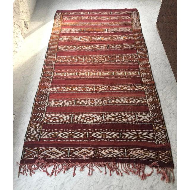Vintage Hand Woven Moroccan Kilim Rug