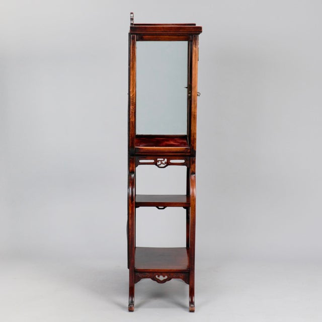 Tall Narrow Chinese Carved Wood Vitrine Display Cabinet - Image 8 of 11