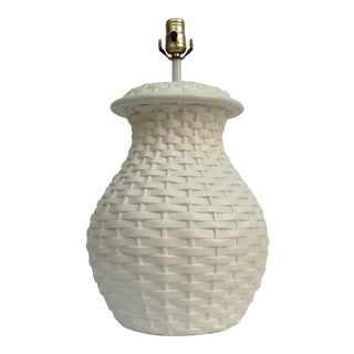 Mid-Century Plaster Ceramic Bulbous Basketweave Lamp