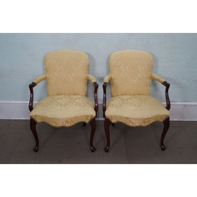 Hickory Co. Mahogany Queen Anne Armchairs - Pair - Image 2 of 10