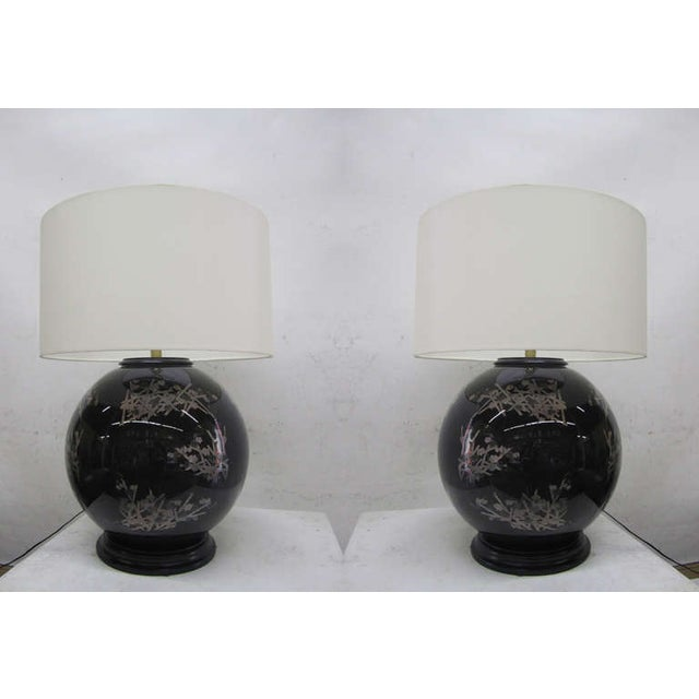 Midcentury Glass Japanese Style Table Lamps - Pair - Image 2 of 6
