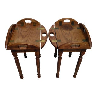 Wooden Butler Tray Tables- A Pair