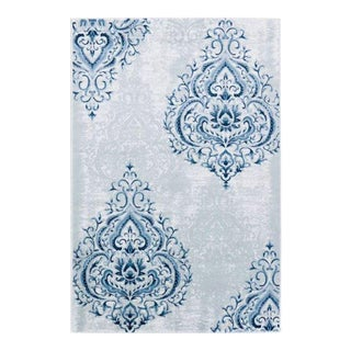 Contemprary Damask Tonal Blue Rug - 8' X 11'4""