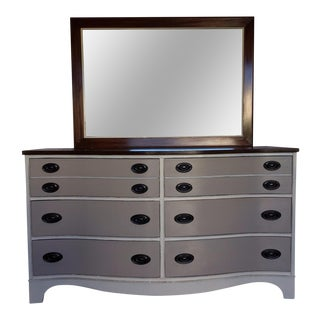 Vintage Bow Front Dresser With Mirror