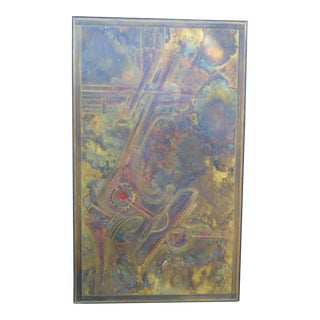 Monumental Bernhard Rohne Brass Acid Etched Wall Art