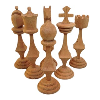 Vintage Mid-Century Wooden Carved Chess Set - S/6