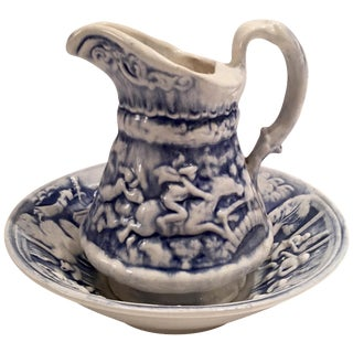 Blue & White Hunting Pitcher with Basin