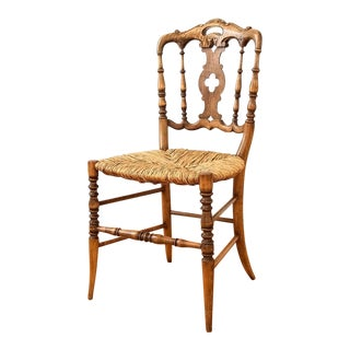 Antique Ornate Wood Rush Chair