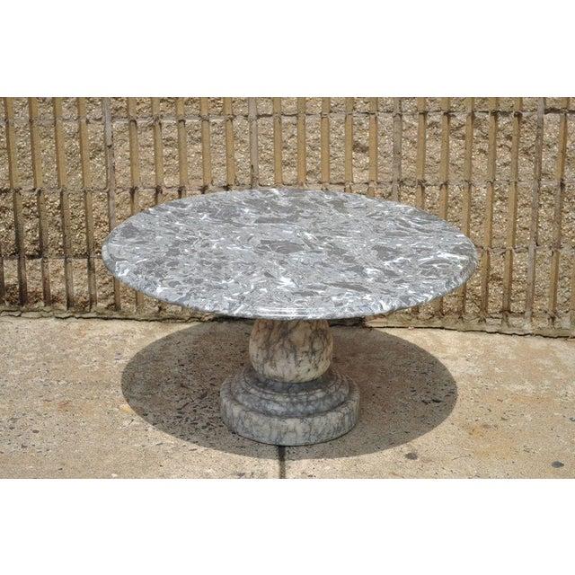 Vintage Decorator Hollywood Regency Italian Grey Marble Round Coffee Table - Image 8 of 8