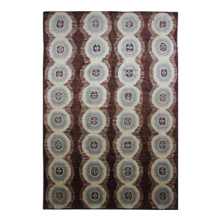 "Hand Knotted Brown & Baby Blue Ikat Rug by Aara Rugs Inc. - 14'7"" X 10'2"""