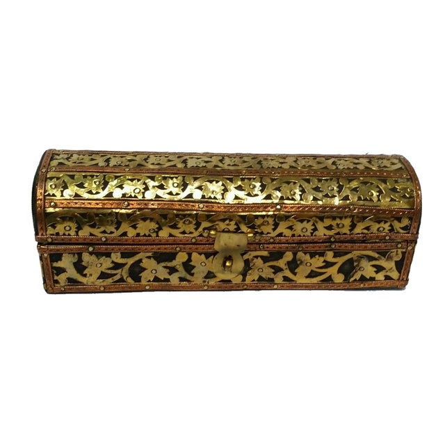 Mhart Gilded Gold Brass Wooden Jewelry Box - Image 2 of 4