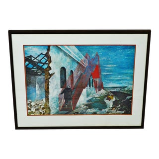 "Vintage 1940's Framed Print of Ben Shahn's ""The Red Stairway"""