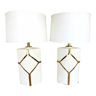 Diamond-Painted Solid Brass Lamps - A Pair