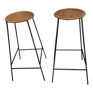 Mid-Century Wicker & Iron Stools - A Pair