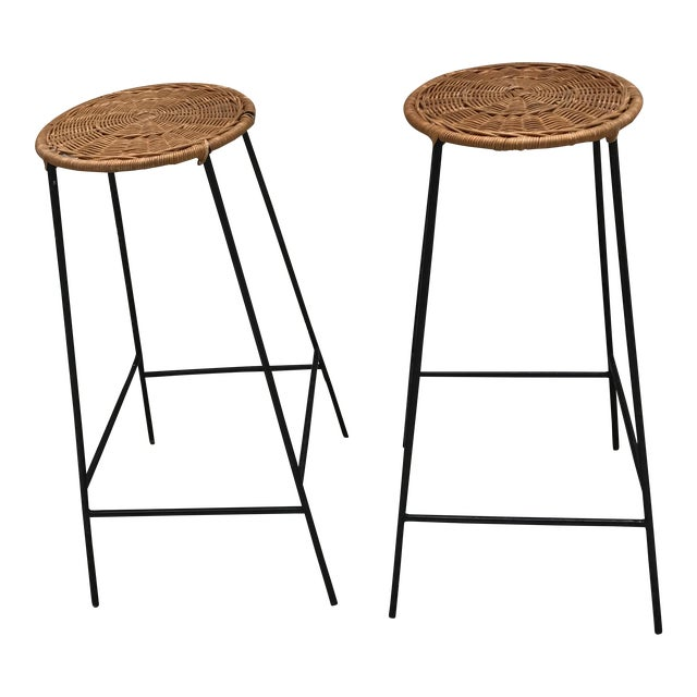 Mid-Century Wicker & Iron Stools - A Pair - Image 1 of 6