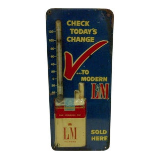 Vintage L & M Cigarettes Advertising Thermometer