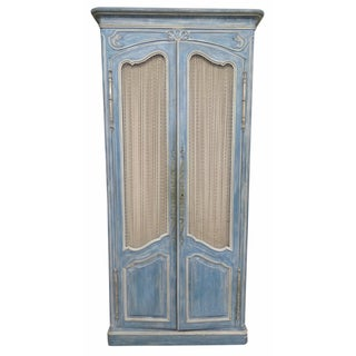 Don Russeau Style Distressed Blue Painted Armoire