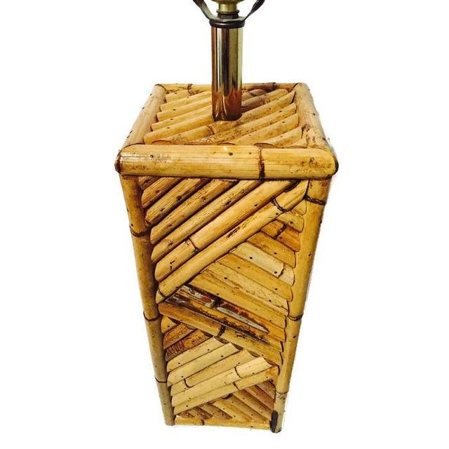 Mid Century Bamboo Geometric Pedestal Lamp - Image 2 of 6
