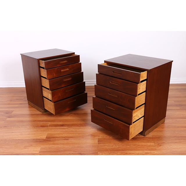 Mid Century Walnut Chests for Dunbar - Pair - Image 6 of 6