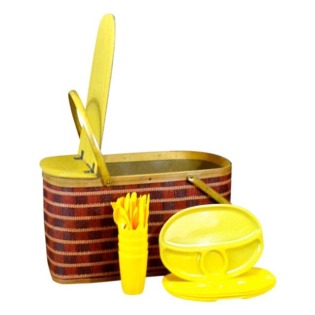 Vintage Picnic Basket & Dinnerware - Image 1 of 8