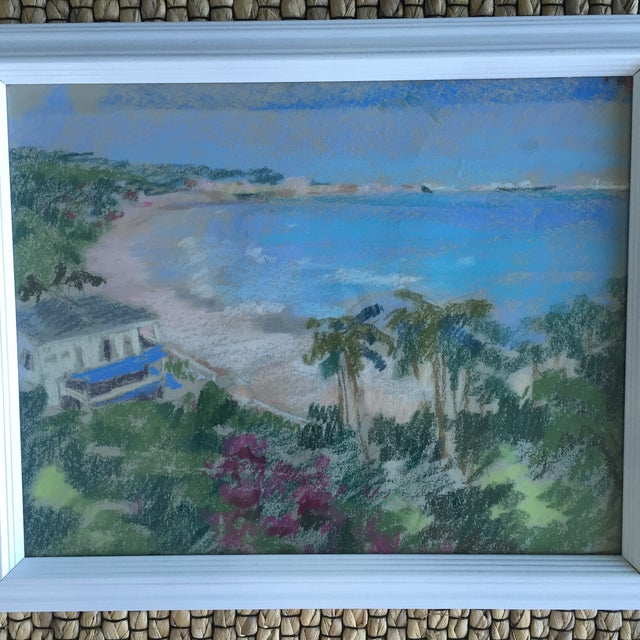 Original Oil Pastel Carribean Coastal Seascape Framed Art - Image 7 of 10