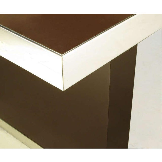 Pierre Cardin Chrome & Dark Chocolate Brown Dining Table - Image 6 of 7