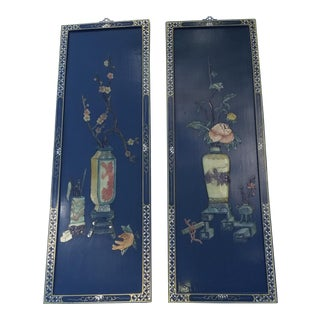 Maitland-Smith Inspired Black Chinoisere Wall Art Panels - A Pair