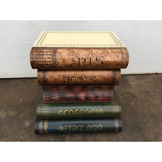 Italian Metal Tole Painted Book Stack Table - Image 5 of 9