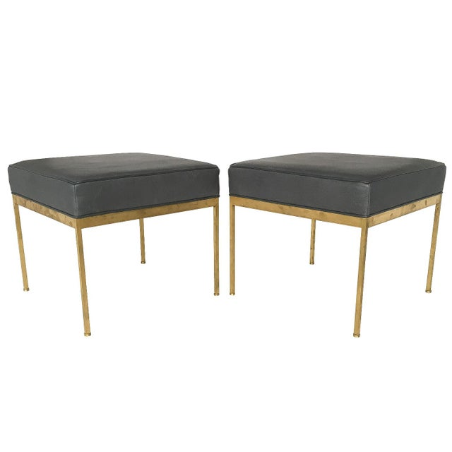 Lawson-Fenning Square Brass and Black Leather Ottomans - a Pair - Image 2 of 8