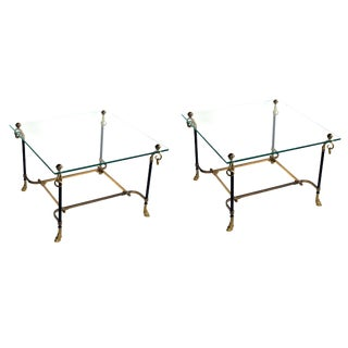 A Good Pair of French Black Tole & Gilt-Bronze Square Side Tables