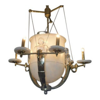 Alabaster and Brass Art Deco Style Chandelier