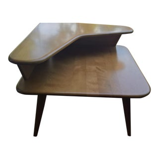 Heywood Wakefield 2-Tier Corner Table W/Boomerang Top Shelf