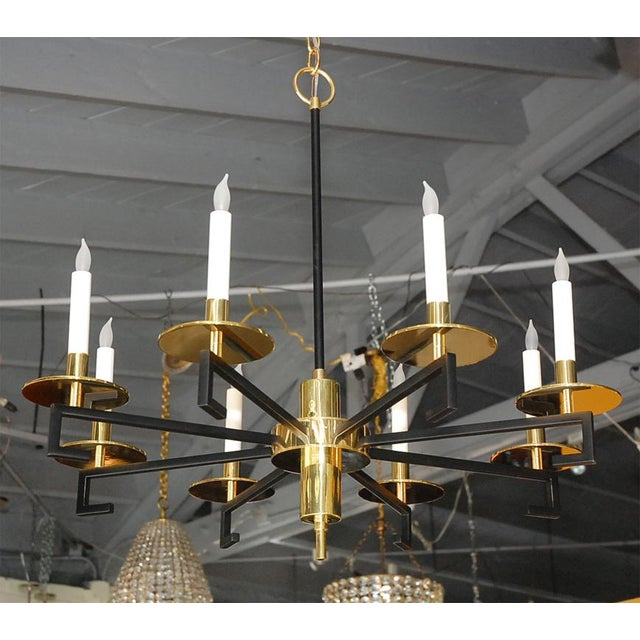 Customizable Paul Marra Design Greek Key Chandelier in Brass - Image 2 of 8