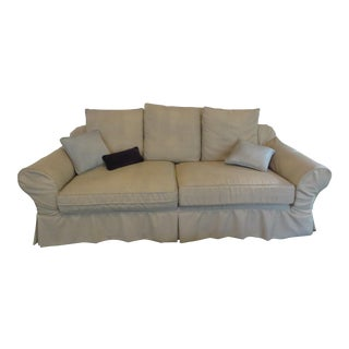 Beige Linen Sofa With Three Pillows