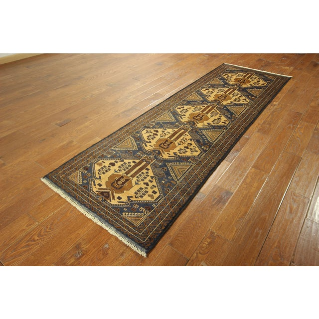 "Image of Traditional Navy Balouch Runner Rug - 2'11"" x 9'2"""