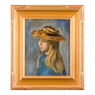 Jerry Farnsworth Portrait of a Young Girl in a Hat-Original Oil Painting