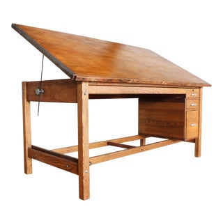 Mid Century Republic Aviation Corp. Oak Drafting Table w/Flat File and Cabinet