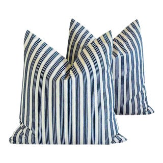 "21"" Custom Tailored Blue & White French Ticking Feather & Down Pillows - a Pair"