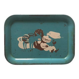 Vintage 1940s Mexican Turquoise Tin Tray