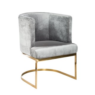 Circular Gray Velvet & Gold Dining Chairs - Set of 6