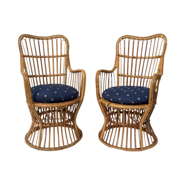 Boho Chic Rattan Chairs - A Pair - Image 1 of 9
