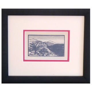 Framed Art Deco Woodblock Print of Mountain